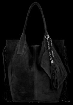 Módna kožená nákupná taška vyrobená zo semišu v Boho štýle od Vittoria Gotti čierny