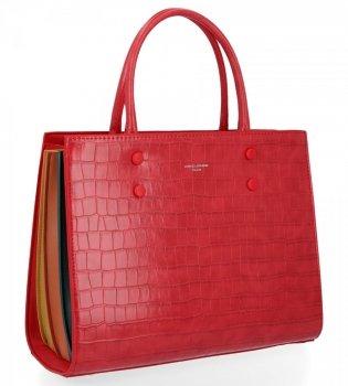 Elegantná dámska taška so vzorom korytnačky David Jones červený