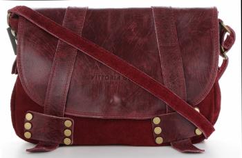 Vittoria Gotti Kožená taška Klasická Messenger taška pre každodenné nosenie Burgundsko