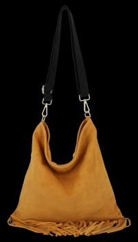 Módna kožená taška veľký poštár so strapcami od Vittoria Gotti svetlo červená