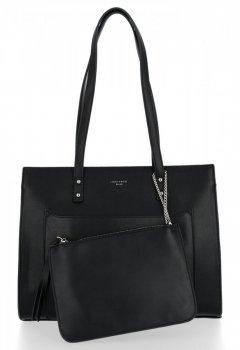 Klasická dámska taška s vreckom David Jones čierny