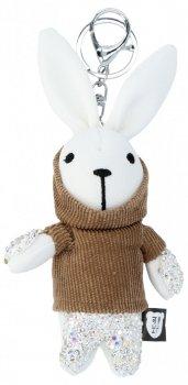 Kabelka kľúčenka králik vo sveter biele a zemité