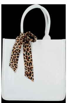 Módna Klasická dámska taška s šatkou na krk od Herisson biela