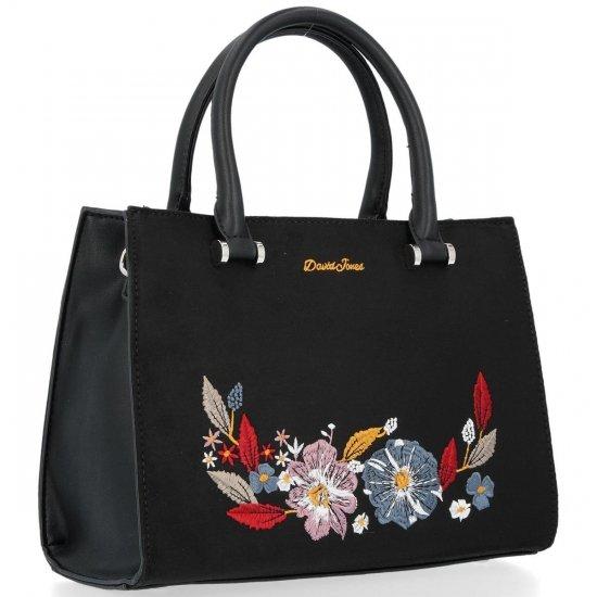 Módní Dámská Kabelka Elegantní Kufřík David Jones květiny vzor Černá