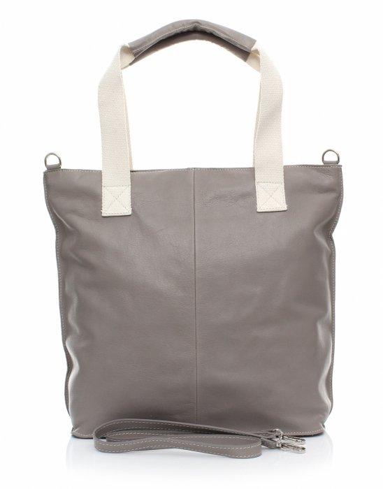 Módní kožená kabelka - italská Shopper bag šedá - Panikabelkova.cz 3a82daf88a6