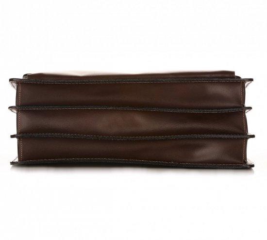 Velkápánská kožená aktovka 3 přihrádky čokoláda