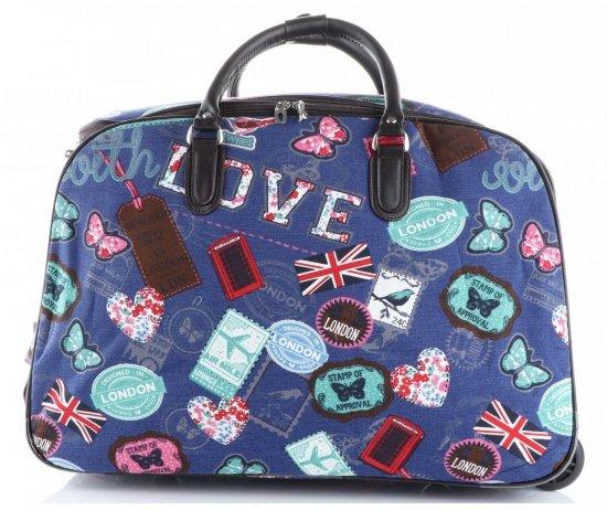 Cestovní taška na kolečkách s výsuvnou rukojetí v motýlech Or&Mi multicolor Tmavě Modrá