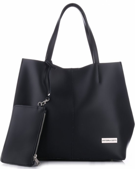9ecff198ab9 VITTORIA GOTTI Made in Italy Módní Kožená kabelka + Kosmetická černá ...