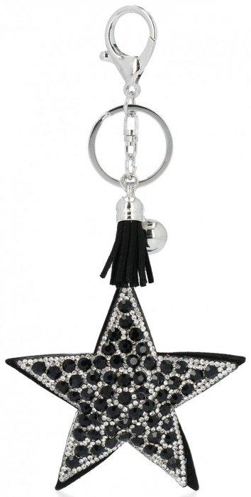 Přívěšek ke kabelce Hvězdička s křišťálky černý