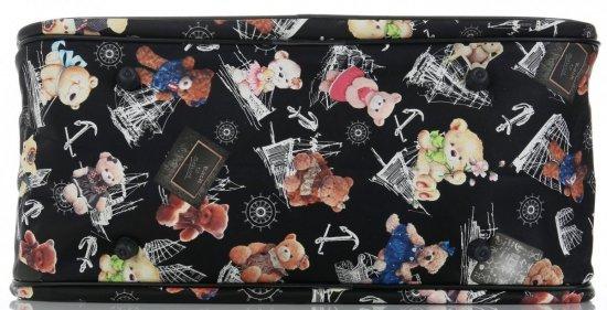 Průměrná cestovní taška kufřík Or&Mi medvědi Multicolor - černá