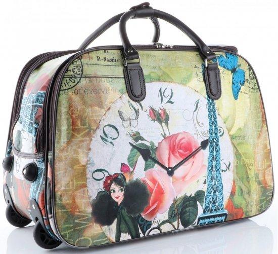 Cestovní taška na kolečkách s výsuvnou rukojetí Flower Time Or&Mi multicolor hnědá
