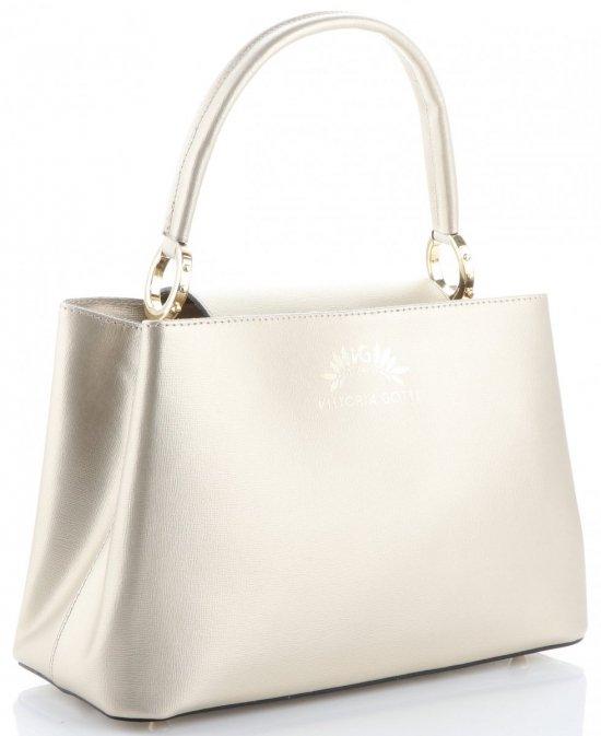 Vittoria Gotti Made in Italy Elegantní Dámská kabelka kožená kufřík zlatá 2f2067eb475