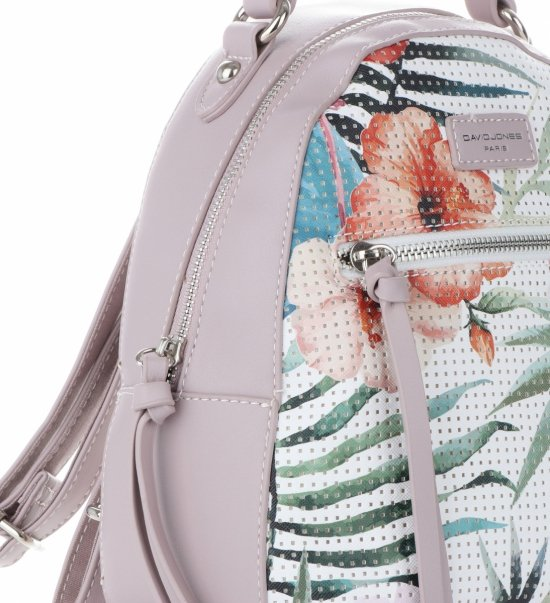 474a3f526f8d2 Modny Plecaczek Damski w Tropikalne Wzory firmy David Jones Multikolor  Wrzosowy