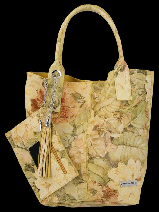 Modna Torebka Skórzana Shopper Bag w kwiaty firmy Vittoria Gotti Żółta