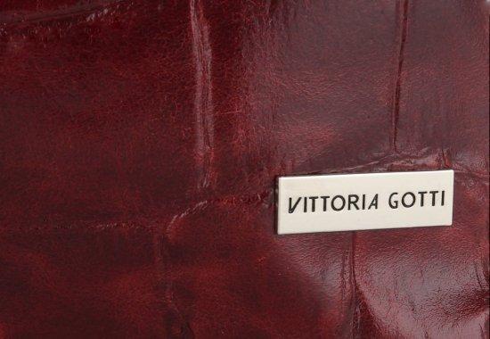 Vittoria Gotti Firmowa Torebka Skórzana Włoski Shopper w modny motyw Żółwia Bordowa