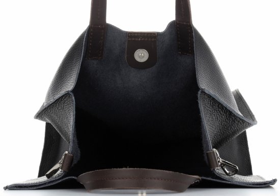 Praktyczne Torebki Skórzane 2 w 1 Shopper z Listonoszką firmy Genuine Leather Czarna