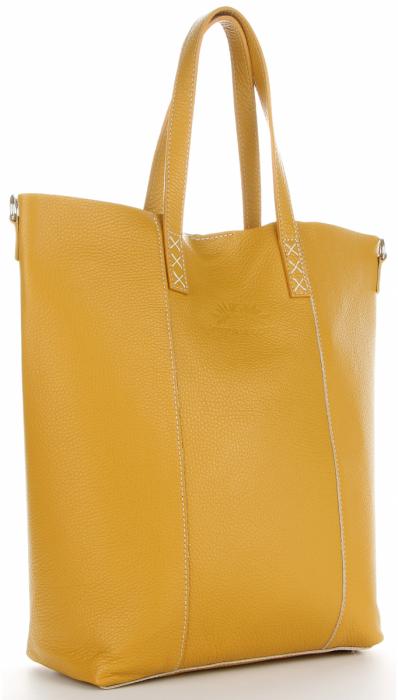 Vittoria Gotti Firmowy Shopper Made in Italy z Kosmetyczką Musztardowy