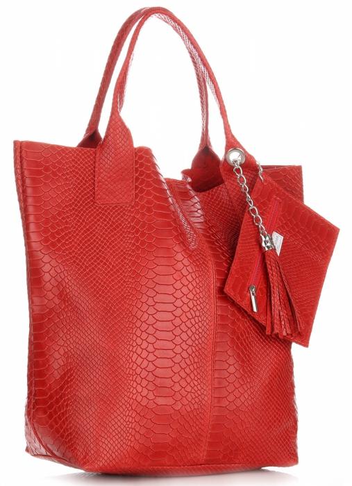 dd55f9f9f809f Włoskie Torebki skórzane typu Shopper bag Aligator Czerwona ...