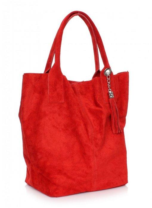 Torebka skórzana  Shopper bag zamsz naturalny Czerwona
