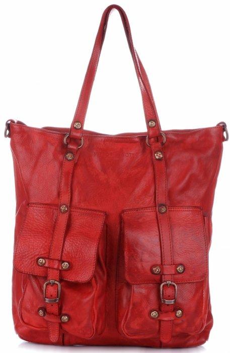 Vittoria Gotti Premium Torebka Skórzana w stylu Vintage Czerwona