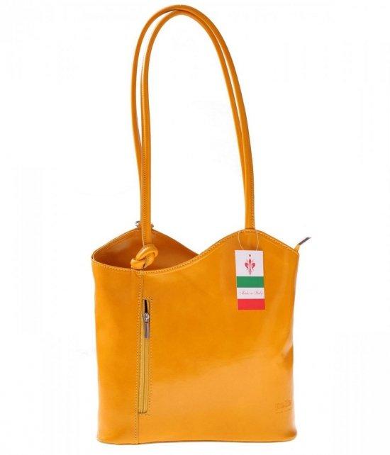 Torebka skórzana Plecaczek Made in Italy Żółta