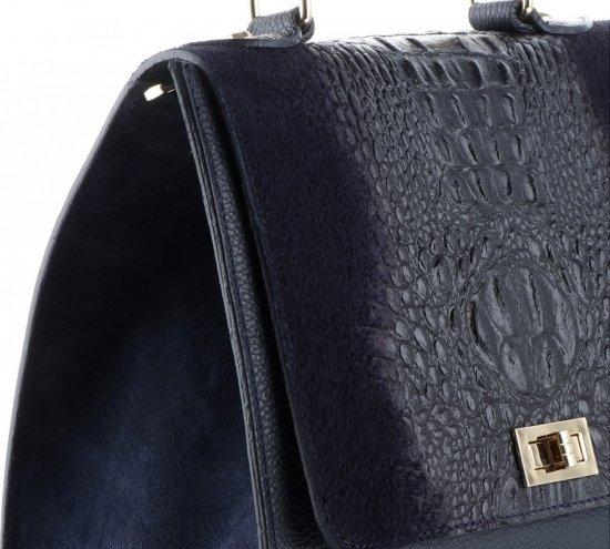 Elegancki Kuferek Skórzany Made in Italy wzór Aligatora Granatowy