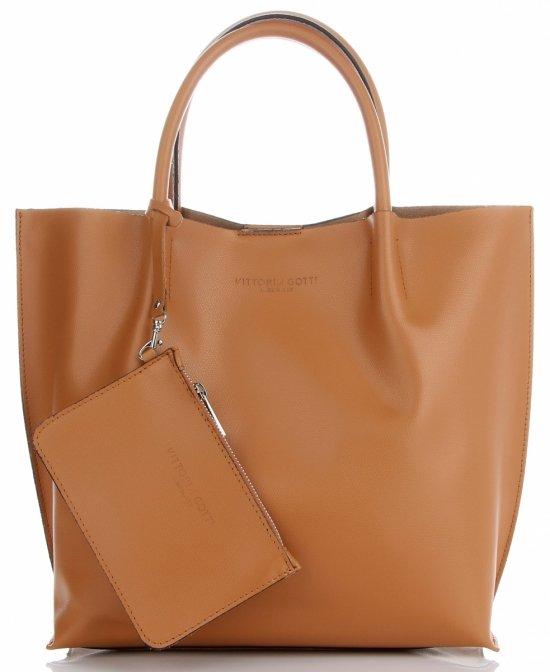 935677891ac6a Vittoria Gotti firmowa Torebka Skórzana Elegancki Shopper XL Made in Italy  z Kosmetyczką Rudy