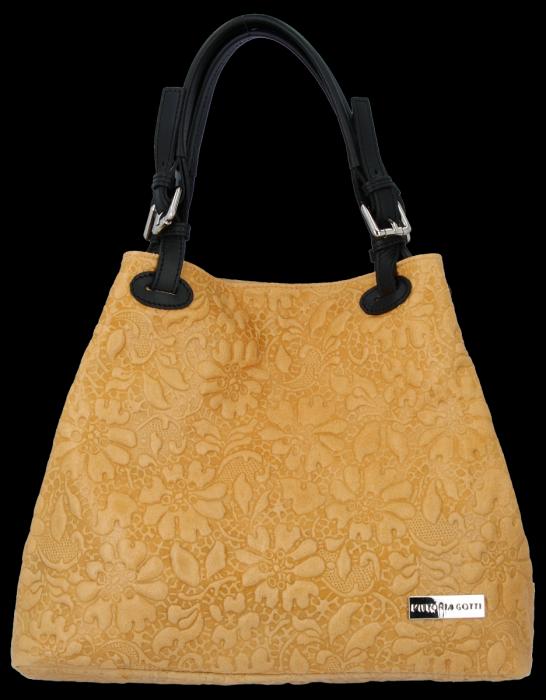 Włoska Torebka Skórzana firmy Vittoria Gotti z tłoczonym wzorem Kwiatów Jasno Ruda
