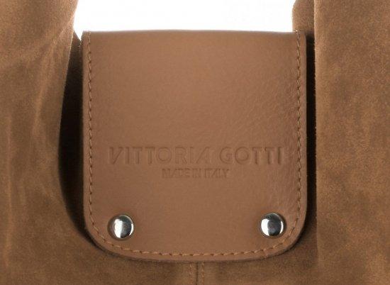 Duża Torba Skórzana Shopper XXL Vittoria Gotti Made in Italy zamsz naturalny wysokiej jakości Ruda