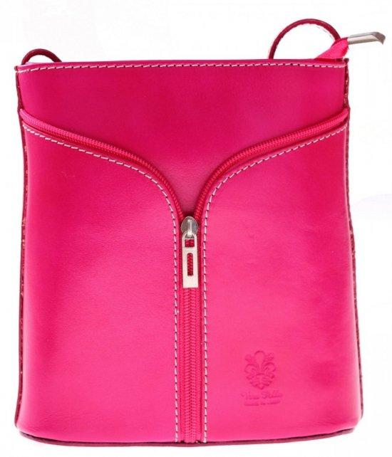 Skórzana torebka listonoszka Made in Italy Róż
