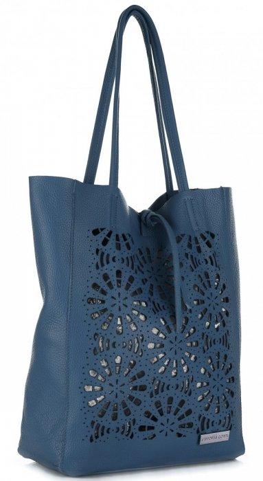 089205fb9948e Modne Torebki Skórzane z Wycinanym Wzorem firmy Vittoria Gotti Niebieska  Jeans