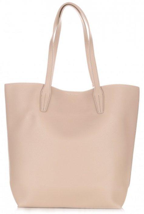 Duża Torba Damska David Jones Typu Shopper Bag XXL z Kosmetyczką Ziemista