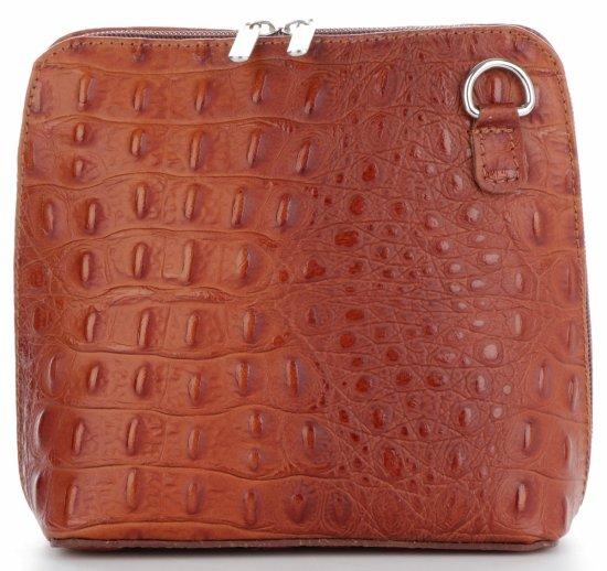 Włoska Torebka Skórzana Listonoszka firmy Genuine Leather we wzór Krokodyla Brązowa