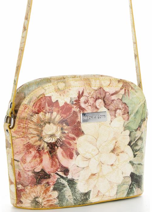 Vittoria Gotti Włoska Listonoszka Skórzana w modny wzór Kwiatów Żółta