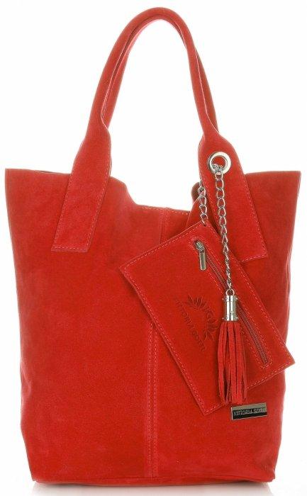 ad0a60ee57acb Vittoria Gotti Torebki Skórzane Typu ShopperBag XL Zamsz Naturalny Wysokiej  Jakości Czerwona
