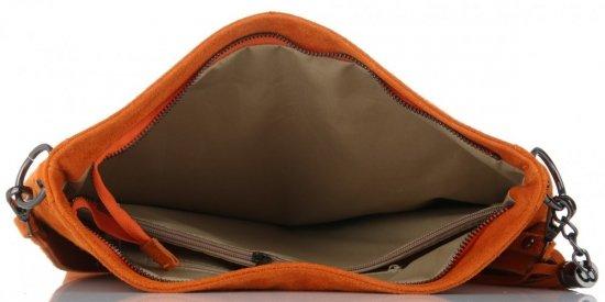 c72e36b29db4d Vittoria Gotti Uniwersalna Torebka Skórzana Listonoszka XL do noszenia na  co dzień Ciemno Pomarańczowa