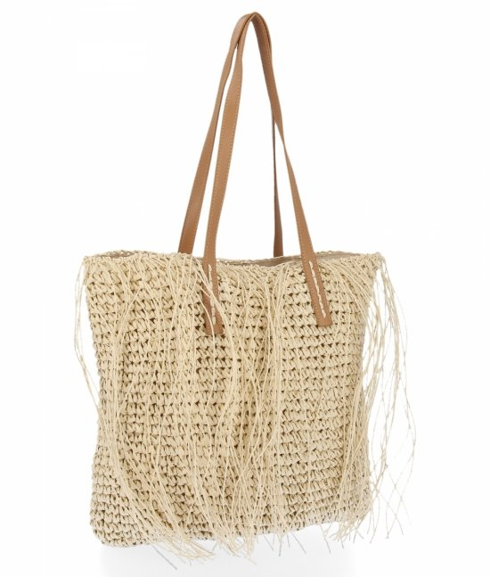 Ratanowa Torebka Damska Shopper Bag firmy David Jones Beżowa