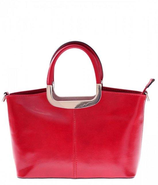 Torebka skórzana Klasyczna genuine leather Czerwony
