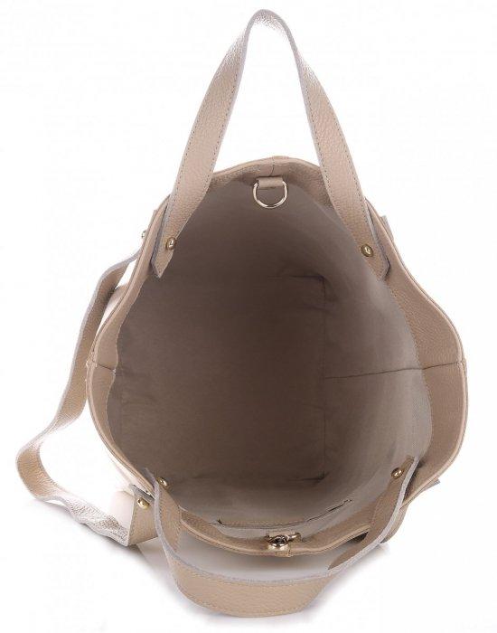 VITTORIA GOTTI Made in Italy Ekskluzywna Torba Skórzany Shopperbag XXL Jasno Beżowa z Beżem