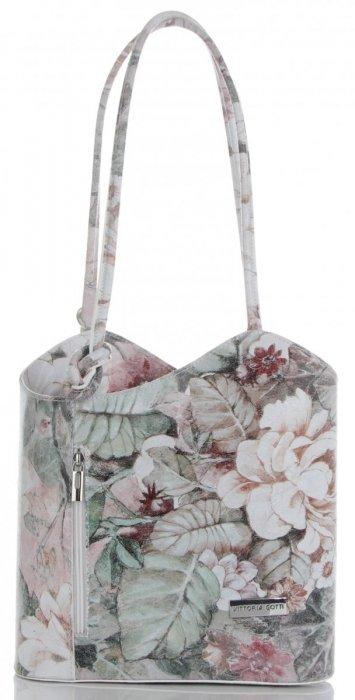 d053fd4c2ad17 Uniwersalna Torebka Skórzana z funkcją plecaczka firmy Vittoria Gotti Made  in Italy we wzory Kwiatów Biała