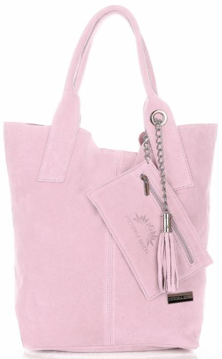 f952028a39297 Vittoria Gotti Torebki Skórzane Typu ShopperBag XL Zamsz Naturalny Wysokiej  Jakości Pudrowy Róż