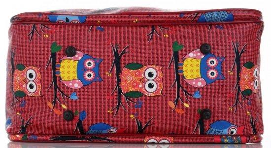 Duża Torba Podróżna Kuferek Or&Mi wzór w sowy Multikolor - Czerwona