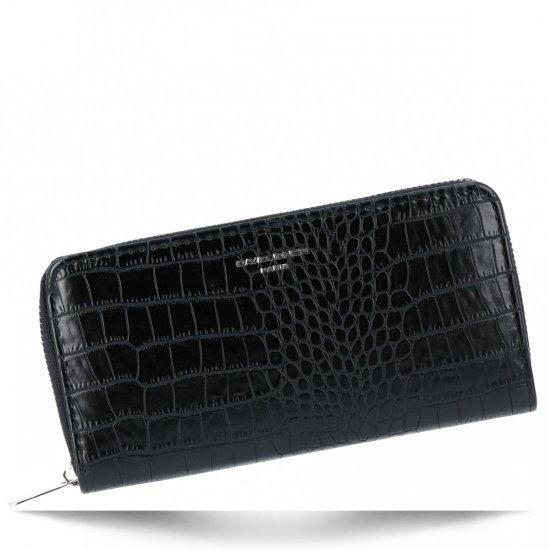 Elegancki Portfel Damski w motyw aligatora firmy David Jones Czarny