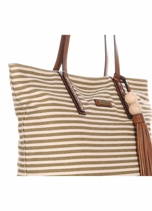 142114b19c93 Duża Torba Damska David Jones Typu Shopper Bag XXL Beżowa Zielona ...