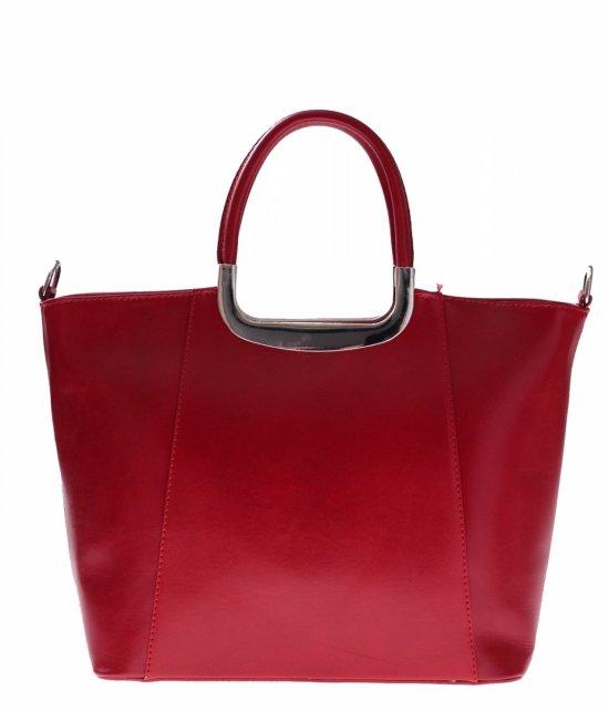 Skórzany kuferek do Ręki z długim paskiem Czerwony