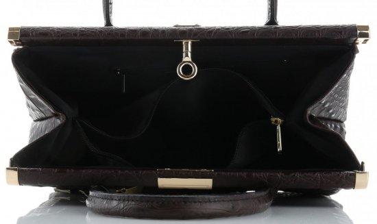 Duży Włoski Skórzany Kufer XL wzór Aligatora Czekoladowy