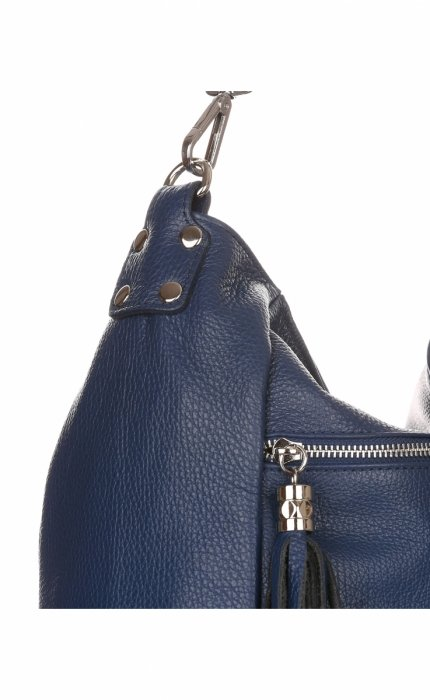 Uniwersalna Torebka Skórzana Genuine Leather Granatowa