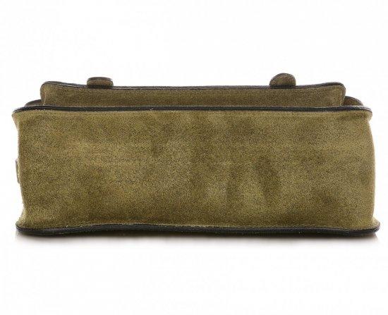 Torebki Listonoszki Skórzane Genuine Leather Zielona
