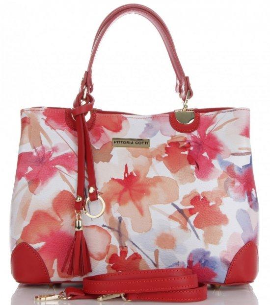 Vittoria Gotti Modna Torebka Skórzana Elegancki Kuferek Made in Italy we wzór malowanych kwiatów Multikolor Czerwona