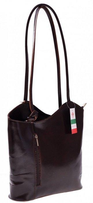 Torebka skórzana Plecaczek Made in Italy Czekolada